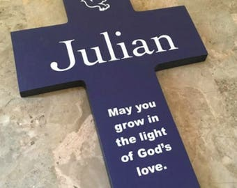 Artisan personalized cross  Custom Made Personalized shown in Navy and white Pine Wood with Dove and Quote Poem Baptism Gift Boy Girl