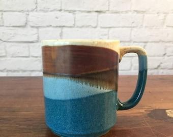 SALE Japan blue and brown mug, blue glazed mug, abstract mountain range mug, vintage blue and brown mug, Japan mug, glazed mug, speckled mug