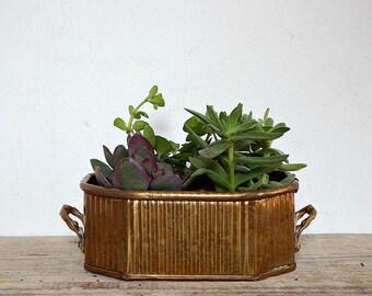 BRASS PLANTER - vintage French jardinier, plant pot, yellow copper table centerpiece, planters pots, garden pot, garden accessory home decor