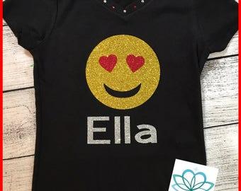 Emoji shirt, emoji heart eyes, personalized Emoji top, glitter emoji shirt