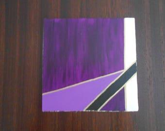Purple #1, Mini Geo Acrylic Painting, 6x6, Unframed