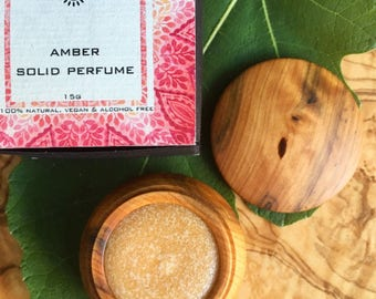 Amber Solid Perfume made from Moroccan Amber resin. Natural, vegan and alcohol free.