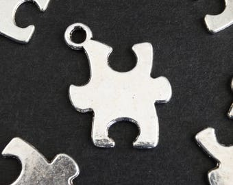 Silver Puzzle Piece Charms, Jigsaw Charms, Puzzle Blanks  - 10 pieces (297)