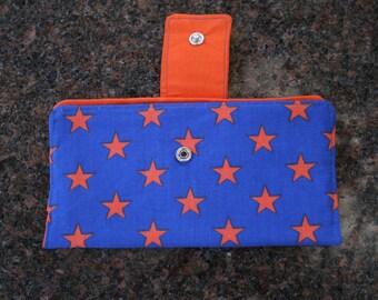 Women's Fold Over Wallet Orange Shooting Star Cloth Wallet Credit Card Holder Checkbook Holder Zippered Coin Wallet