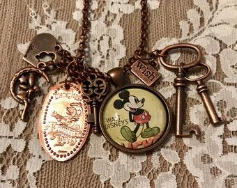 """Pendant, Charm Necklace """"Mr. M Mouse"""". In Antique Copper Tone."""