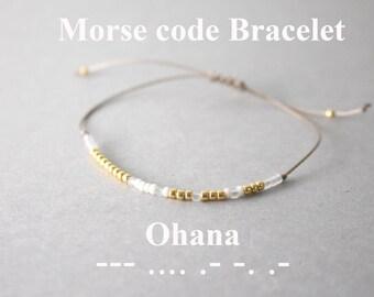 Morse Code Ohana Bracelets, Ohana Bracelets, Sorority Bracelets, Morse code bracelets, Family bracelet