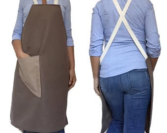 BIB APRON - Full Apron, 90 cm long - JAPANESE apron, Canvas Apron, mens apron, work Apron, womens Apron, Bbq Apron, Delantal
