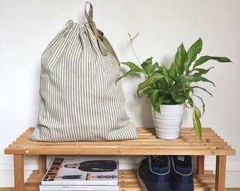 LAUNDRY BAG - 45 x 55 - stripey cotton laundry bag, drawstring laundry bag, natural laundry bag