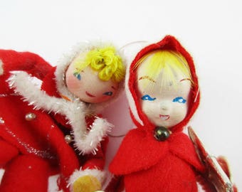 Two Red Felt Ornaments - Christmas - Felted Bodies - Skater and Girl With Present - From the 1940s - Unique - 'Delta Novelty Company'