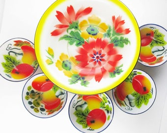 Large Enamelware Bowl -  Bright Orange Yellow and Green Color - 1930s With Black Edge Trim - Multi-purpose