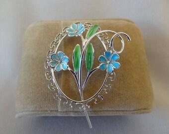 Lovely BEAU Sterling & Enamel FLOWER Pin
