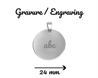 24 mm pendant medal round stainless steel with or without engraving