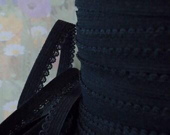 5yd Skinny Elastic 3/8 inch Black Picot Elastic Rick Rack Scalloped edge diy Headbands lingerie Single sided Bra Elastic Picot Trim PB