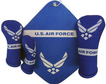 U.S. Air Force golf club head covers & microfiber towel drive-fairway-hybrid Made in the USA by BeeJos