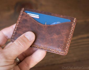 Three Pocket Flat Wallet - Horween derby leather