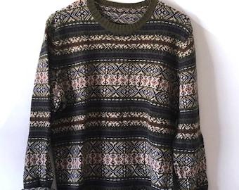 SALE, Vintage Sweater, Nordic Fair Isle Sweater