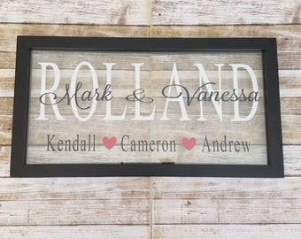 Personalized Family Name Sign / Personalized Frames / Established Family Sign / Personalized Glass Frames / Wedding Gifts / Engagement Gifts