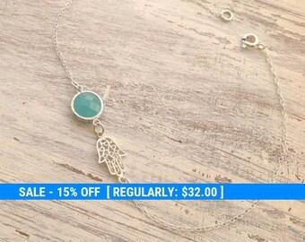 Hamsa bracelet, sideway hamsa, mint and silver bracelet, silver hamsa, hamsa jewelry, delicate bracelet, luck jewelry 10024
