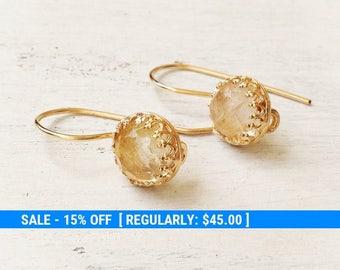 Gold Dangle earrings,Yellow Quarts Earrings,Dangle Earrings,gold filled drop earrings,gemstone earrings,gold earrings,gift for her - 21042