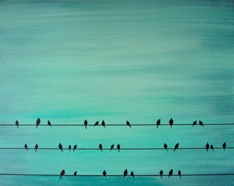 Teal birds on wire