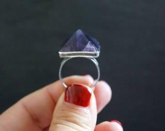 July 4th SALE // Amethyst Ring // Silver Ring // Gemstone Ring // Raw Amethyst // Amethyst Jewelry // Crystal Ring // February Birthstone