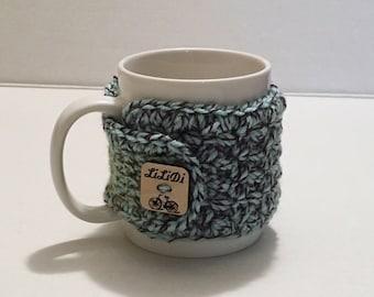 Crochet Coffee Mug Cozy, Custom made wooden button, Mug Cozy, Mug Sweater, Cup Hugger, Cozie
