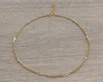 CZ Double Chain Choker,  Choker, Gold Necklace, Chain Choker, Metal Choker