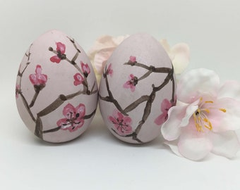Hand painted Easter Eggs, Cherry Blossom, Wooden eggs,Spring Decor, Easter Decor,  Pink Easter Eggs, Decorative Easter eggs, Personalized