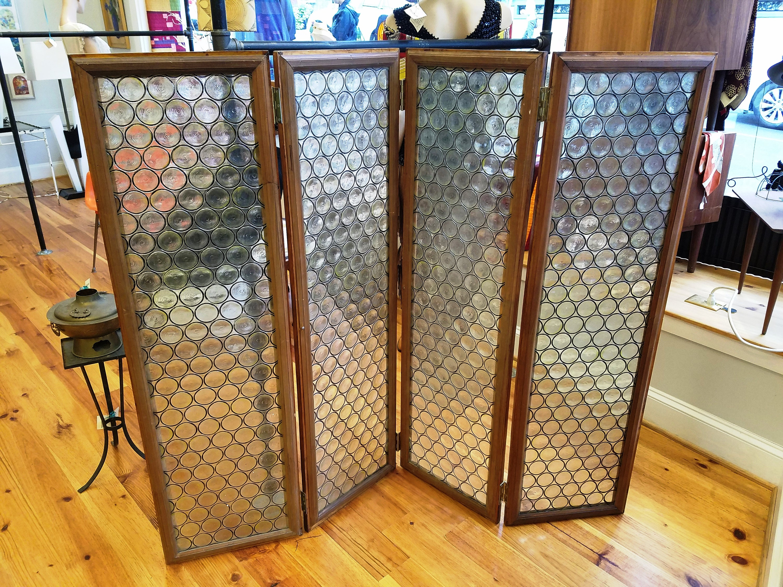 Vintage 4 Panel Folding Screen Room Divider Bottle Glass and