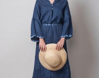 Blue Linen Dress, Shibori  Maxi dress, one size loose dress, Shibori clothing, kaftan Dress