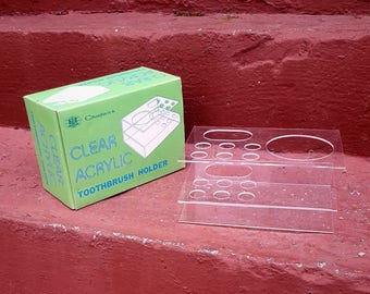 NOS Vintage Chadwick Clear Acrylic Toothbrush and Cup Holder