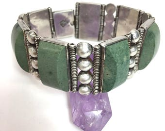 Modernist Bracelet Taxco Bracelet Green Stone Sterling Silver Substantial Panel Bracelet Mexico Statement Jewelry