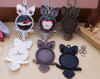 5- 25mm Round DIY Owl Pendant Craft Kits - Complete Pendant Tray Kit - Includes Trays, Chains, Glass Cabochon, & Jump Ring. Choose 5 Colors.