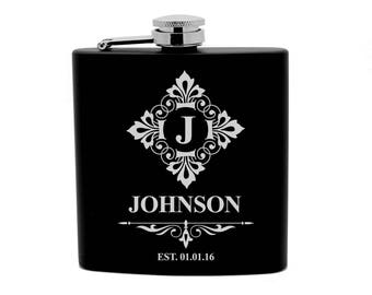Personalized Flask 6oz Black Stainless Steel Laser Engrave Name Initial FLX0004