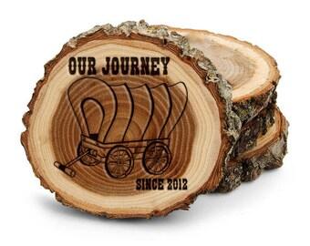 Tree Bark Round Coaster Set,Our Journey, Wagon, Cowboy, Cowgirl,Customized Name, Date,Wedding Gift, Housewarming gift,Western Theme 1003