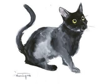 Black Cat, Original watercolor painting, animal art, cat lover art, black and white