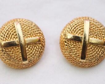 """80's Vintage """"DANIELLE"""" Fancy Gold Detailed Clip-On Earrings"""