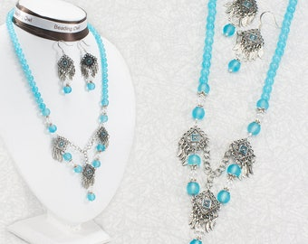 Beaded Jewelry Set / Aqua Blue Necklace and Earrings Jewelry Set / Cascading Necklace And Earrings Set / Mother's Day Gift