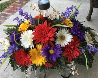 Cemetery Flowers~Cemetery Solar Light Saddle~Memorial Flowers~Headstone Flowers~Tombstone Saddle~Cemetery Arrangement~In Loving Memory