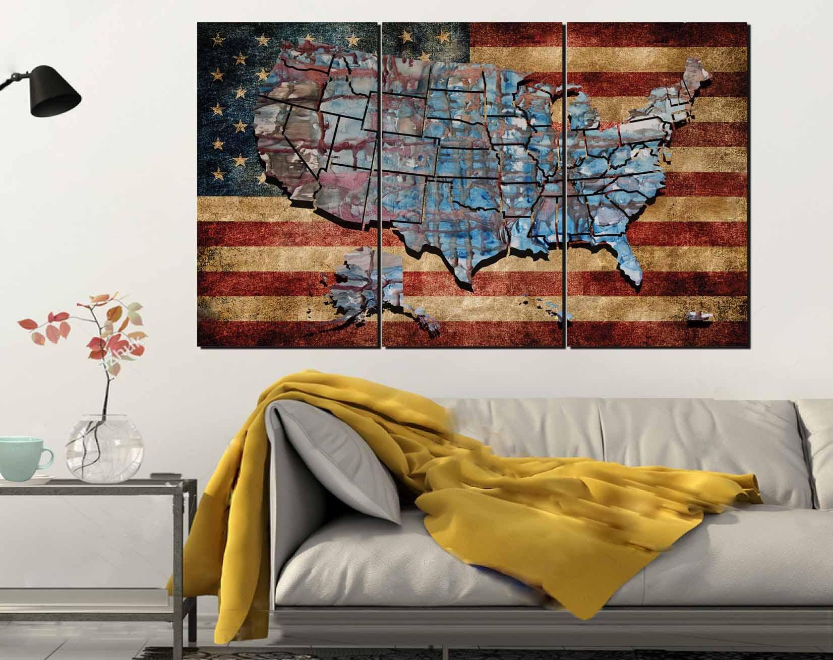 USA Flag Wall ArtUS Flag and Map ArtUS Flag CanvasUnited States