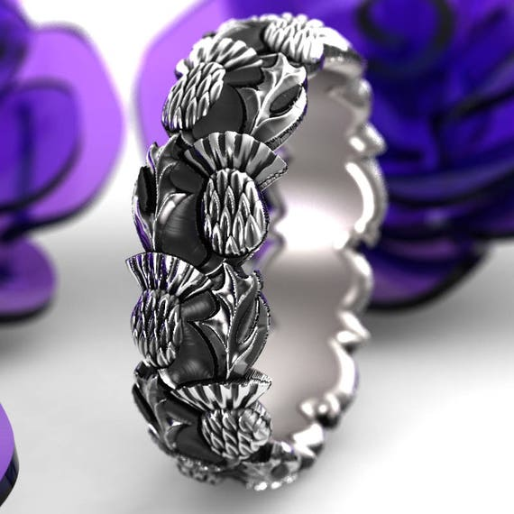 Staggered Thistle Engagement Band, 925 Sterling Silver Scottish Ring, Unique Rings for Her, Handcrafted Rings, Custom Size 5098