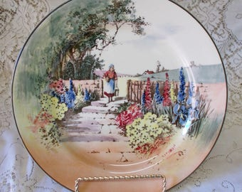 Vintage Royal Doulton series ware milk maid cottage garden display plate made in England