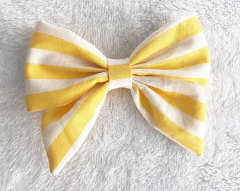Yellow hairbow. Sailor bow. Striped hair bow. Baby headbands. Yellow sailor bow. Nylon headbands. Hair bows.