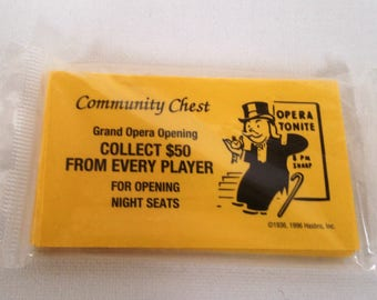 Monopoly Game COMMUNITY CHEST Cards Sealed Package Game Pieces for Crafting Scrapbooking Card Making