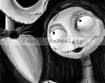 "Jack and Sally Nightmare Before Christmas Print  8""x 10"""
