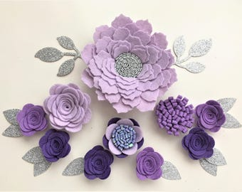 Hand made lilac/purple felt 3d flowers & glitter leaves. Felt flower crown, flower headband, flower garland, baby headband, felt posies