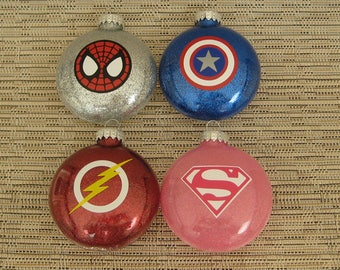 Superhero Ornaments-Captain America, The Flash, Supergirl, and Spiderman. Free Standard Shipping