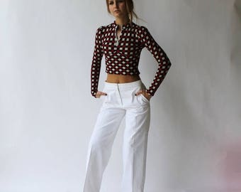 """Sexy Summer Sale White Wide Leg Bell Bottom High Waist Pants by Calvin Klein Collection size 6 up to 29"""" x 38"""" x 31.5"""""""