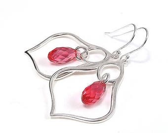 END Of SUMMER SALE Sterling Silver Earrings - Moroccan Lantern with Ruby Red Swarovski Crystal Briolettes