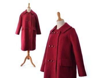 Red Coat, Womens Coat, 1950s Coat, 1960s Coat, Vintage Coat, Womens Coat,  Wool Coat, Winter Coat, Large Coat, Medium